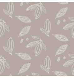 Cocoa beans outline seamless pattern Chocolate vector