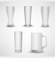 Collection blank white clear beer glass template vector