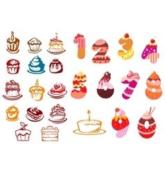 Collection of kids birthday icons vector image