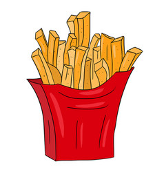 Colored hand drawn fries symbol vector