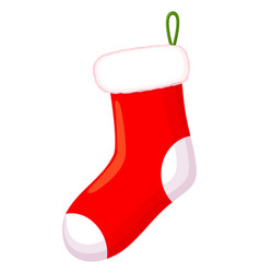 colorful cartoon red christmas sock vector image