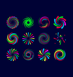 Colorful festive spirals twist and swirls vector