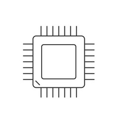 computer processor linear icon on white background vector image