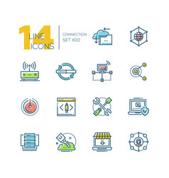 Connection - colored modern single line icons set vector