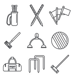 Croquet equipment icons set outline style vector