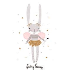 Cute cartoon bunny fairy rabbit bellerina vector