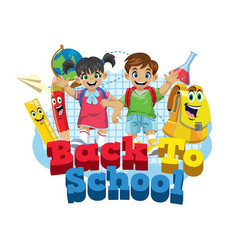 Cute kids student and school supplies cartoon vector