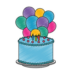 Delicious cake with candles and balloons helium vector