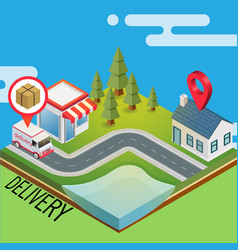 delivery road map for truck delivery background ve vector image