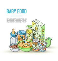 Doodle baby food newborn vector