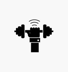 Dumbbell gain lifting power sport glyph icon vector