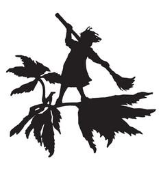 Fairy sweeping vintage vector