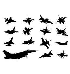 fighters detailed silhouettes vector image