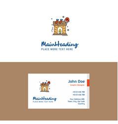 Flat chimney logo and visiting card template vector