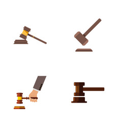 Flat icon hammer set of crime government building vector