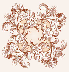 floral hand drawn vintage border vector image