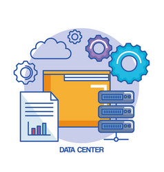folder gear data center web hosting cloud vector image