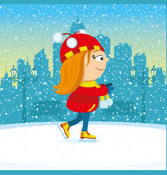 Girl on an ice skating rink vector