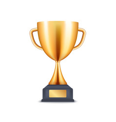 golden trophy 3d cup prize award realistic vector image