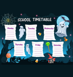 Halloween school timetable with ghosts and candy vector