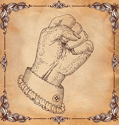 Hand Drawn clenched fist with border vector