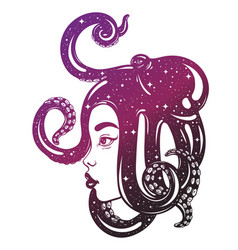 Hand drawn female profile with octopus on her vector