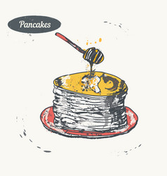 hand drawn sketch pancakes with honey vector image