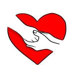 hand of human comforting each other on red heart vector image