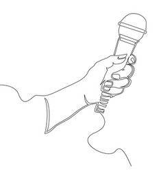 hand with microphone continuous line vector image