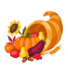 happy thanksgiving day horn plenty vector image