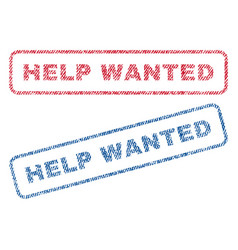 Help wanted textile stamps vector
