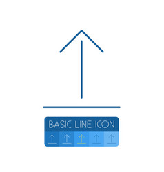 isolated arrow up outline upload element vector image