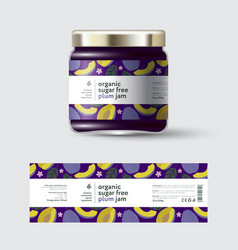 Jam plum label and packaging jar with cap vector