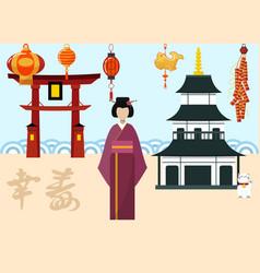 japan travel postcard poster tour advertising vector image