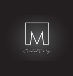 M square frame letter logo design with black and vector