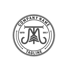 mt badge logo design vector image