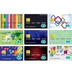 Nine variants of credit cards vector