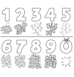 Numbers set with cartoon animals color book vector