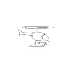 one single line drawing flying helicopter air vector image