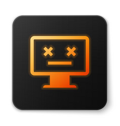 Orange glowing dead monitor icon isolated on white vector