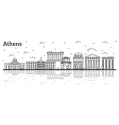 Outline athens greece city skyline vector