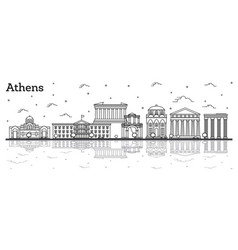 Outline athens greece city skyline with vector