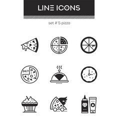 pizza - set line design style icons vector image