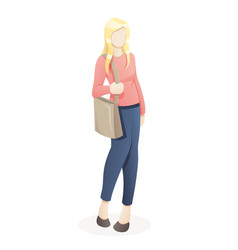 portrait young woman going shopping with eco vector image