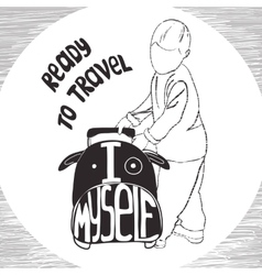 ravel inspiration quotes on suitcase silhouette vector image