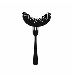 Sausage on a fork icon simple style vector