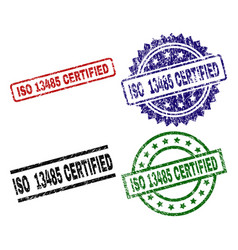 scratched textured iso 13485 certified seal stamps vector image