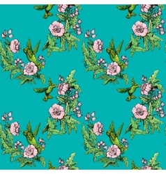 Seamless pattern Colibri and flowers on blue vector