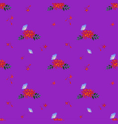 seamless pattern with butterfly and red flowers vector image