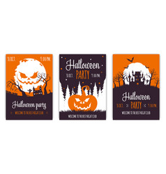 set abstract halloween party backgrounds 01 vector image